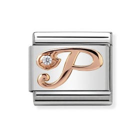 Classic Rose Gold Letter P Charm