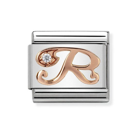 Classic Rose Gold Letter R Charm