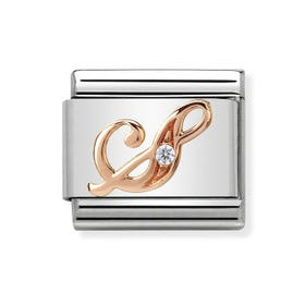 Classic Rose Gold Letter S Charm