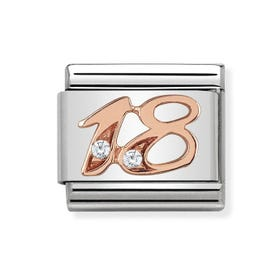 Classic Rose Gold Number 18 Charm