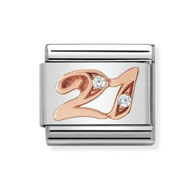 Classic Rose Gold Number 21 Charm