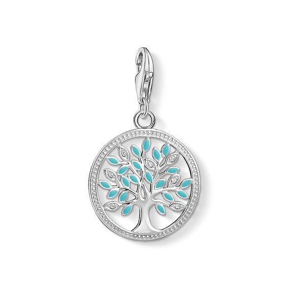 Silver Turquoise Tree Charm Pendant