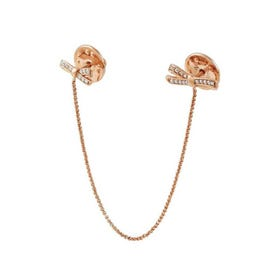925 silver brooch MYCHERIE and cubic zirconia double BOW Rose Gold