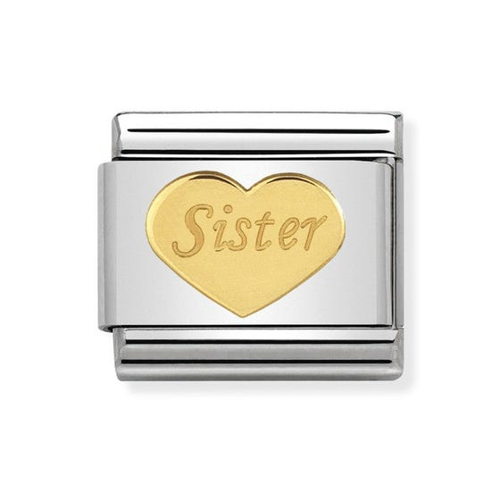 Classic Gold Sister Heart Charm