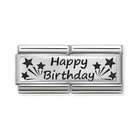 Classic Silver Happy Birthday Double Charm