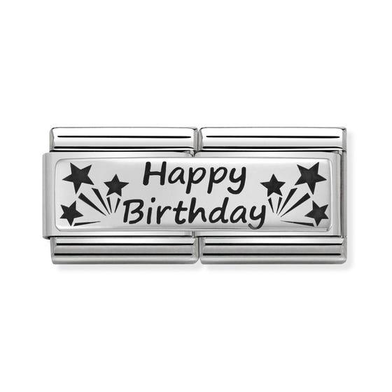 Classic Silver Happy Birthday Double Charm