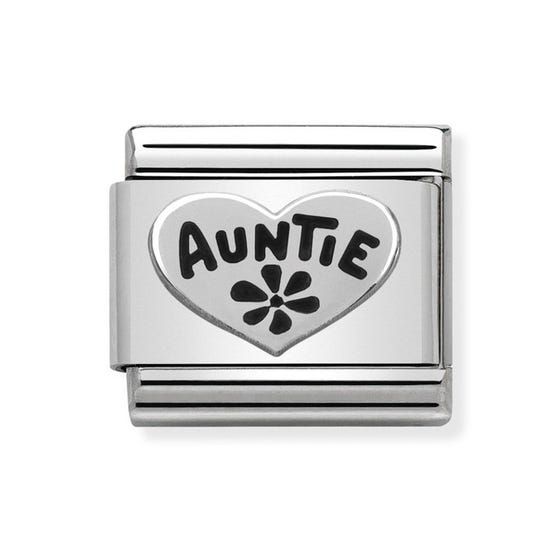 Classic Silver Auntie Heart Charm