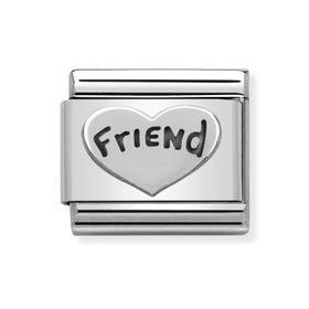Classic Silver Friend Heart Charm