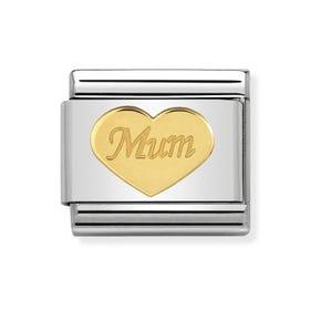 Classic Gold Mum Heart Charm