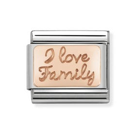 "Classic Rose Gold ""I love family"" Heart Charm"