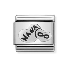 Classic Silver Nana Heart & Infinity Charm