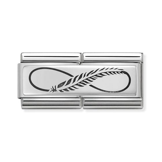 Classic Silver Infinity Feather Double Charm