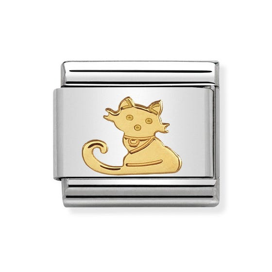 Classic Gold Seated Cat Charm