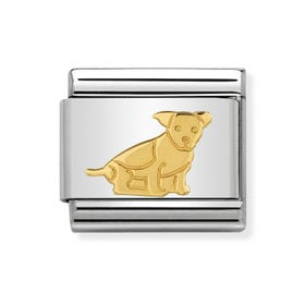 Classic Gold Seated Dog Charm