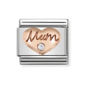 Classic Rose Gold Mum Heart Charm