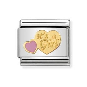 """Classic Gold """"it's a girl"""" Charm"""