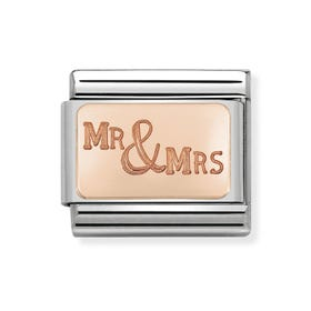 Classic Rose Gold Mr & Mrs Charm