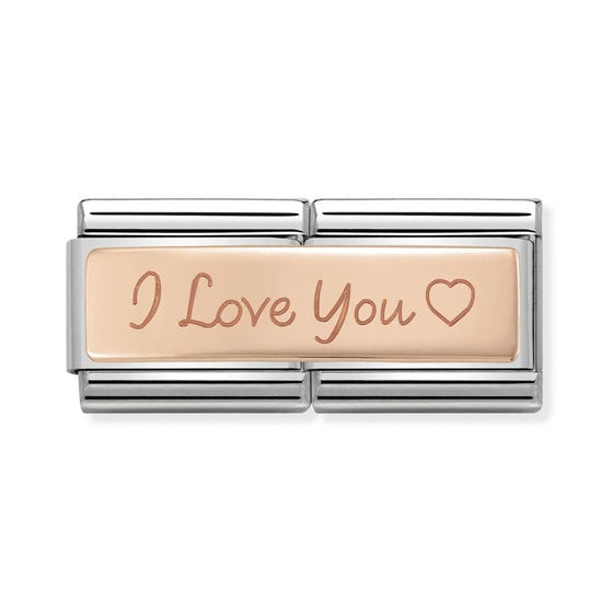 "Classic Rose Gold ""I love you"" Double Charm"