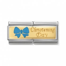 Classic Gold Blue Bow Christening Day Double Charm
