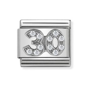 "Classic Silver ""30"" Zirconia Charm"