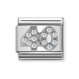 "Classic Silver ""40"" Zirconia Charm"