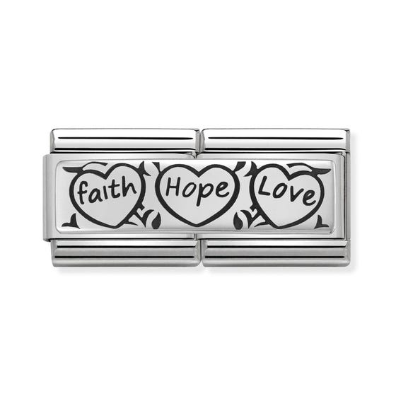 Classic Silver Faith, Hope & Love Double Charm