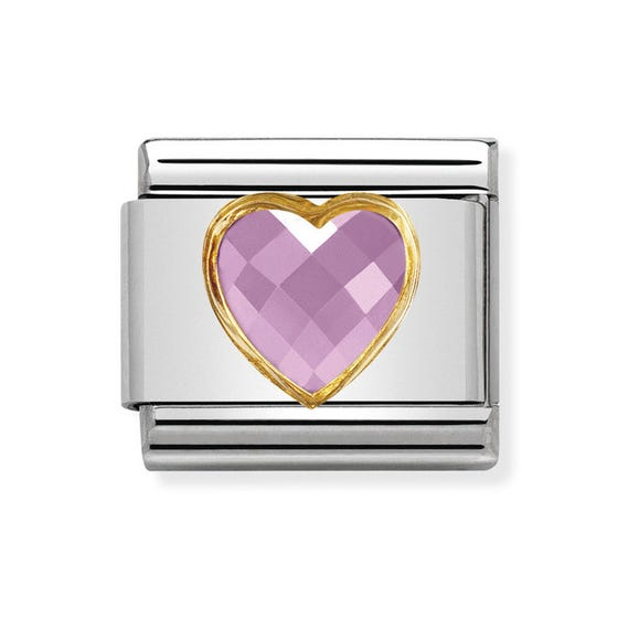 Classic Cubic Zirconia Faceted Pink Heart Charm