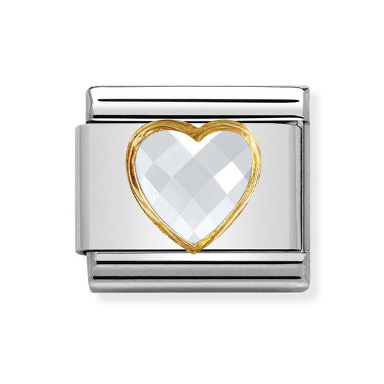 Classic Cubic Zirconia Faceted White Heart Charm