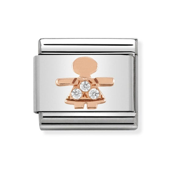 Classic Rose Gold Little Girl Charm