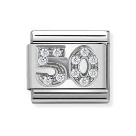 "Classic Silver ""50"" Zirconia Charm"
