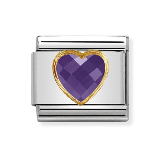 Classic Zirconia Faceted Purple Heart Charm