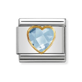 Classic Zirconia Faceted Blue Heart Charm