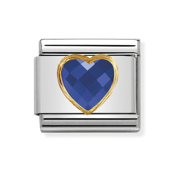 Classic Zirconia Faceted Dark Blue Heart Charm