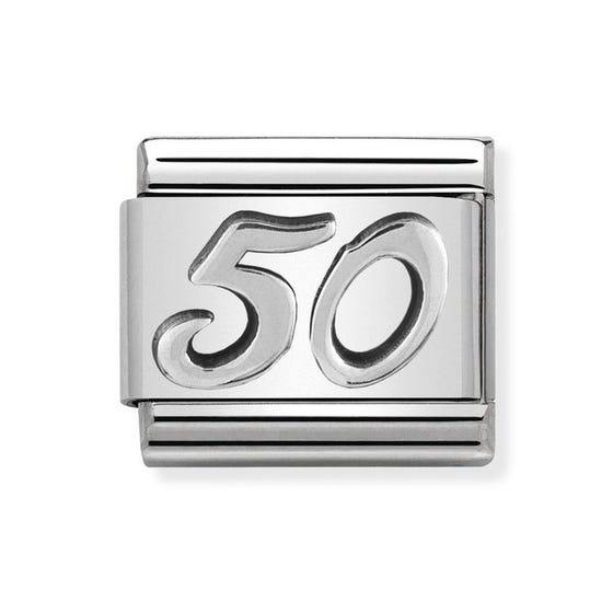 """Classic Silver """"50"""" Charm"""