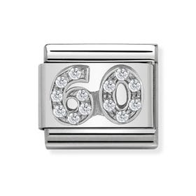 "Classic Silver ""60"" Zirconia Charm"