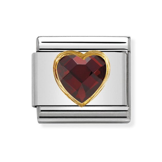 Classic Zirconia Faceted Red Heart Charm
