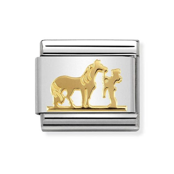 Classic Gold Horse with Rider Charm