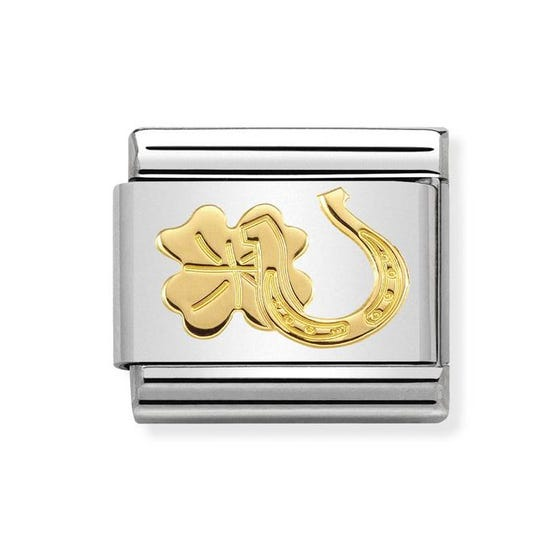 Classic Gold Horseshoe & Four Leaf Clover Charm