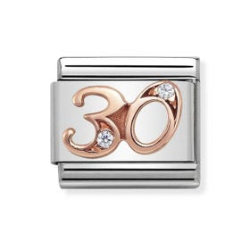 Classic Rose Gold Number 30 Charm