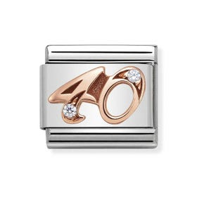 Classic Rose Gold Number 40 Charm