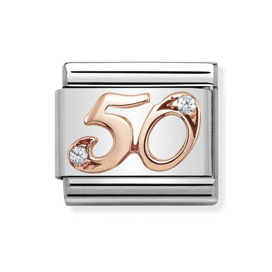 Classic Rose Gold Number 50 Charm