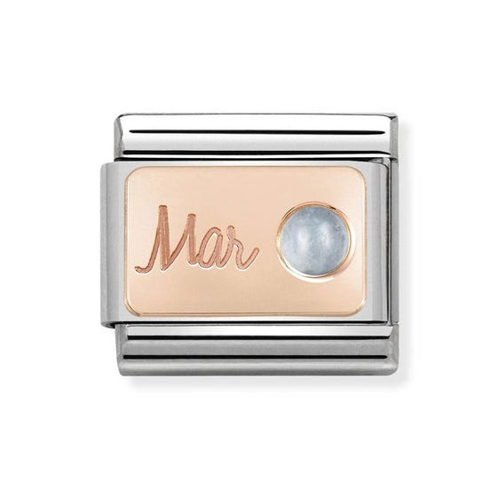 Classic Rose Gold March Birthstone Charm