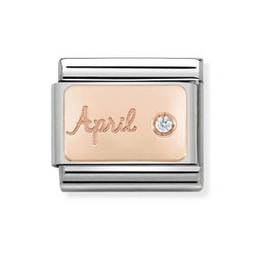 Classic Rose Gold April Birthstone Charm