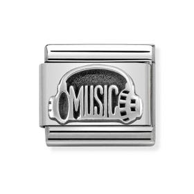 Classic Silver Music Headphones Charm