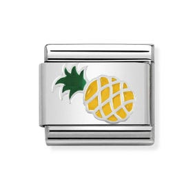 Classic Silver & Enamel Pineapple Charm
