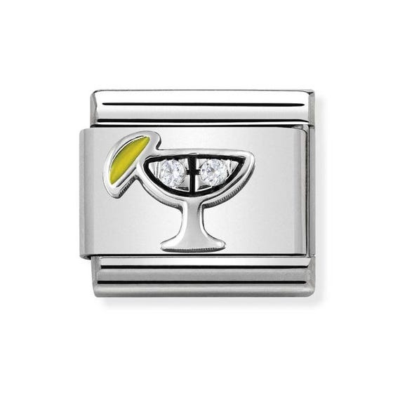 Classic Silver & Cubic Zirconia Cocktail Charm