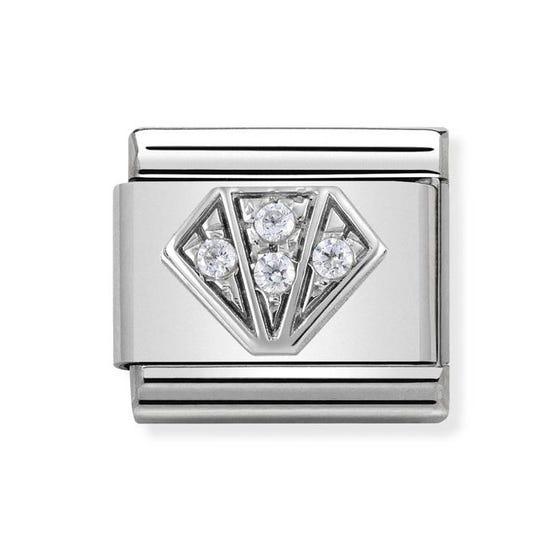 Classic Silver & Cubic Zirconia Diamond Charm