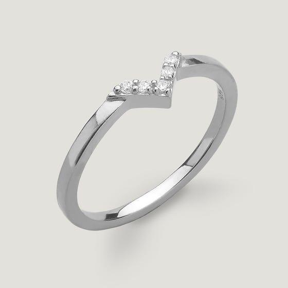 Kite Silver Wishbone Ring