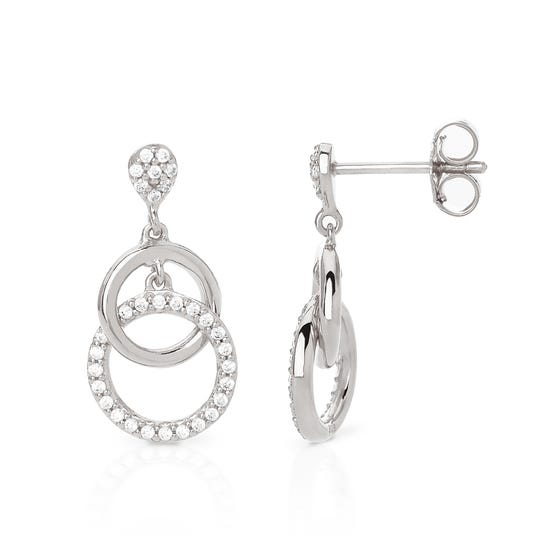 Eos Silver Double Circle Drop Earrings