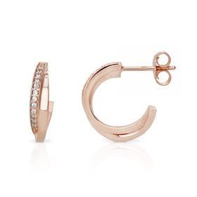 Selene Rose Gold Plated Silver Twisted Hoop Earrings